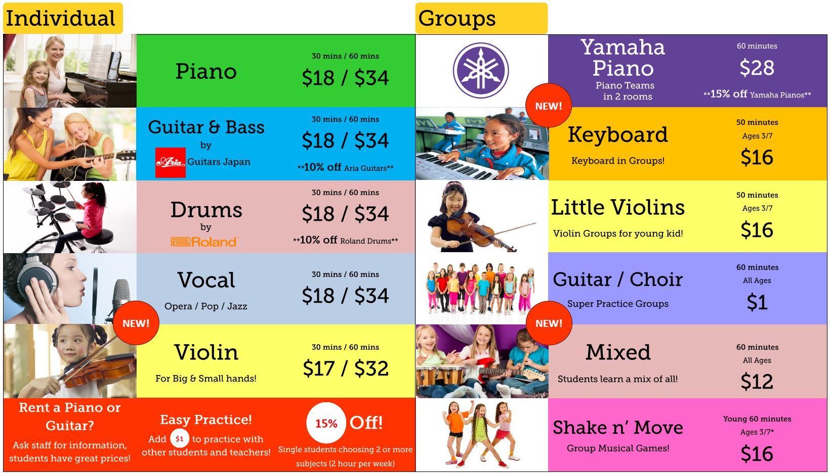 Music Courses & Fees FINAL (Term 2, 2016)