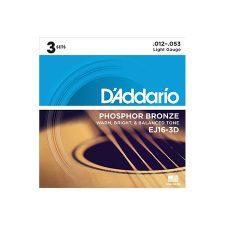 Phosphor Bronze Acoustic Guitar Strings, Light, 3 Sets